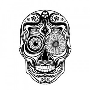 Lost Coast Designs Stamp - Sugar Skull with Flower