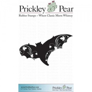 Prickley Pear Cling Mounted Stamp - Flourished Bat