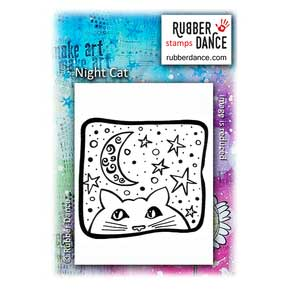Rubber Dance Unmounted Stamp - Night Cat
