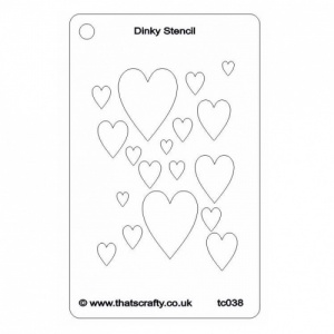 That's Crafty! Dinky Stencil - Hearts - TC038