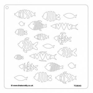 That's Crafty! 8ins x 8ins Stencil - Fish - TC8043 by Magda Polakow