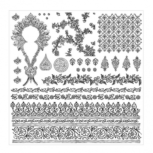 Prima Iron Orchid Designs Decor Clear Stamp Set Bohemian