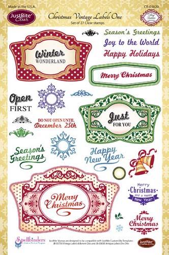 Justrite Clear Stamp Set Christmas Vintage Labels One