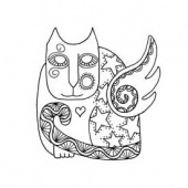 Lost Coast Designs Stamp - Cat Star Wings