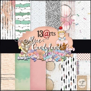 13 Arts 12ins x 12ins Paper Pack - Alice in Candyland