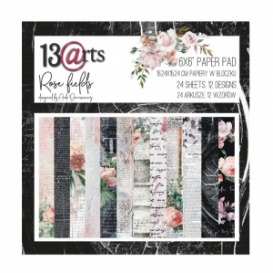 13 Arts 6ins x 6ins Paper Pack - Rose Fields