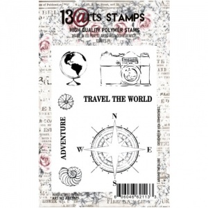 13 Arts A7 Clear Stamp - Around the Globe