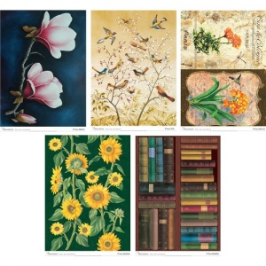Calambour A4 Rice Papers - Flowers, Books and Birds
