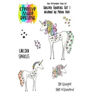 Creative Muse Designs Clear Stamp Set - Unicorn Sparkles Set 1