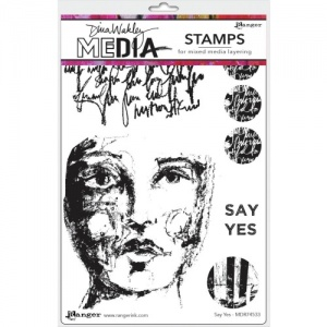Dina Wakley Media Cling Mount Stamp Set - Say Yes