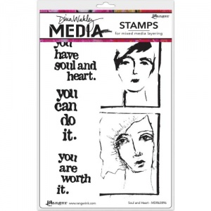 Dina Wakley Media Cling Mount Stamp Set - Soul and Heart