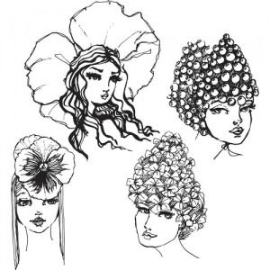 Jane Davenport Artomology Acrylic Stamp Set - Flower Girls