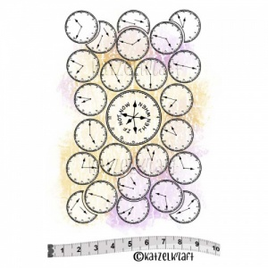 Katzelkraft Unmounted Rubber Stamp - Background Montres - SOLO155