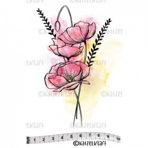 Katzelkraft Unmounted Rubber Stamp - Coquelicots - SOLO128