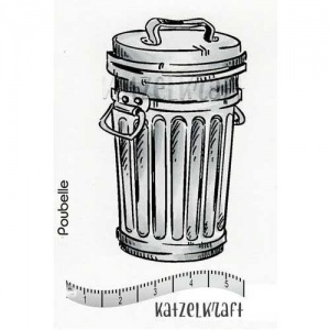 Katzelkraft Unmounted Rubber Stamp - Trash Can - SOLO-107