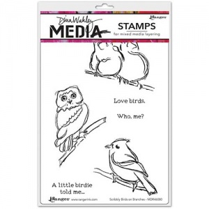 Dina Wakley Media Cling Mount Stamp Set - Scribbly Birds On Branches
