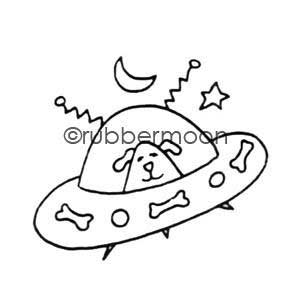 Rubber Moon - Effie Glitzfinger - Wood Mounted Stamp - Doggy Spaceship
