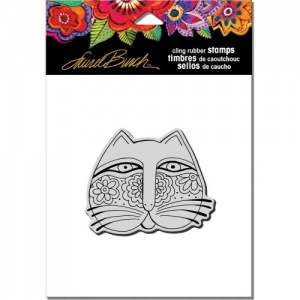 STAMPENDOUS! Laurel Burch Cling Rubber Stamp - Feline Face