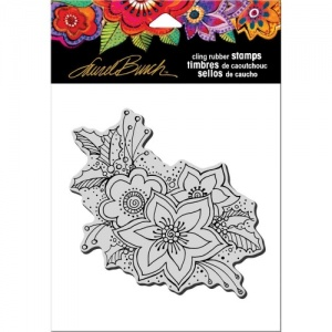 STAMPENDOUS! Laurel Burch Cling Rubber Stamp - Festive Flora