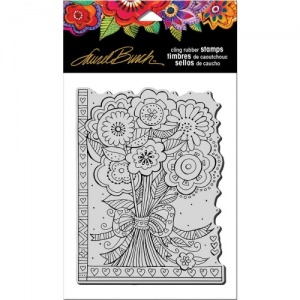 STAMPENDOUS! Laurel Burch Cling Rubber Stamp - Flower Bouquet