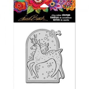 STAMPENDOUS! Laurel Burch Cling Rubber Stamp - Reindeer Spirit