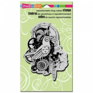 STAMPENDOUS! Cling Rubber Stamp - Bird Gears