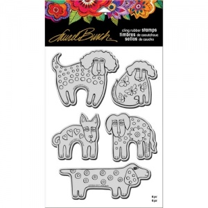 STAMPENDOUS! Laurel Burch Cling Rubber Stamp Set - Dog Park