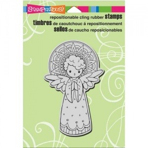 STAMPENDOUS! Cling Rubber Stamp - Singing Angel