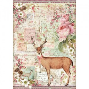 Stamperia A4 Rice Paper - Pink Christmas - Christmas Deer