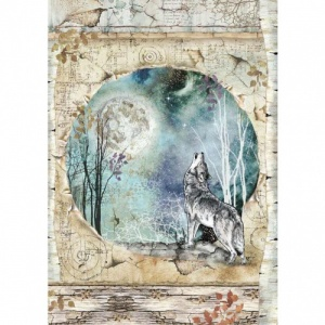 Stamperia A4 Rice Paper - Cosmos Wolf and Moon