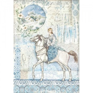 Stamperia A4 Rice Paper - Winter Tales - Horse
