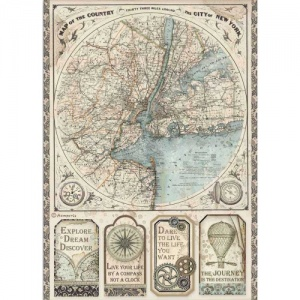 Stamperia A4 Rice Paper - Sir Vagabond - Map of New York