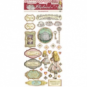 Stamperia Printed Chipboard - Alice Gold