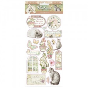 Stamperia Printed Chipboard - Orchids and Cats
