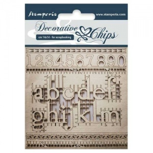 Stamperia Decorative Chips - Alphabet and Numbers