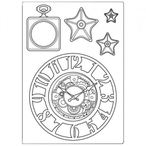 Stamperia A5 Silicone Mould - Sir Vagabond - Clocks and Stars