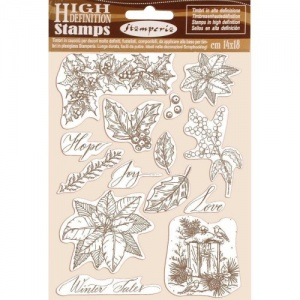 Stamperia Cling Mounted Stamp Set - Poinsettia