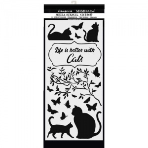 Stamperia Stencil - Life is Better with Cats