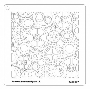 That's Crafty! 6ins x 6ins Stencil - Cogs - TC60037