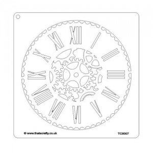 That's Crafty! 8ins x 8ins Stencil - Cog Clock - TC8007