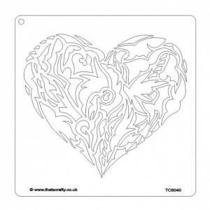 That's Crafty! 8ins x 8ins Stencil - Ornate Heart - TC8040 by Ingrid Kristina V