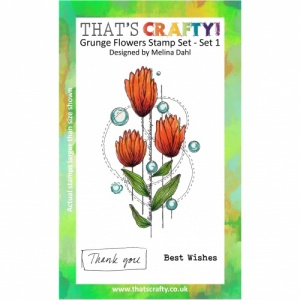 That's Crafty! A6 Clear Stamp Set - Grunge Flowers - Set 1