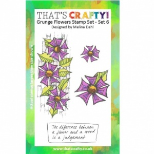 That's Crafty! A6 Clear Stamp Set - Grunge Flowers - Set 6