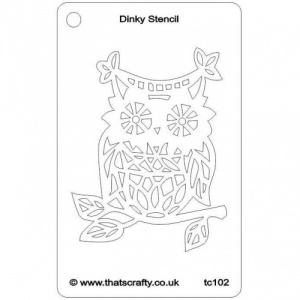 That's Crafty! Dinky Stencil - Owl on Branch - TC102