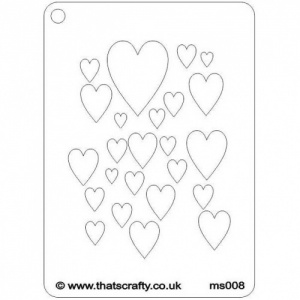 That's Crafty! Mini Stencil - Hearts - MS008