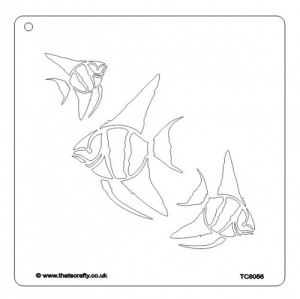 That's Crafty! 8ins x 8ins Stencil - 3 Angel Fish - TC8056