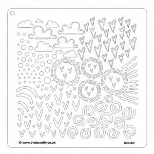 That's Crafty! 8ins x 8ins Stencil - Clouds and Hearts - TC8045 by Magda Polakow