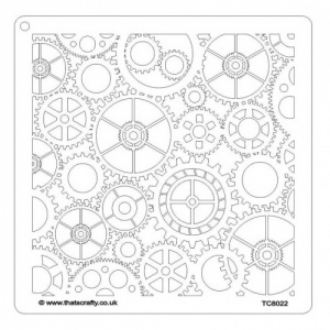 That's Crafty! 8ins x 8ins Stencil - Cogs & Gears - TC8022