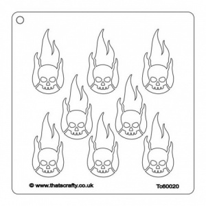 That's Crafty! 6ins x6ins Stencil - Flaming Skulls - TC60020
