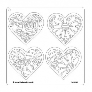 That's Crafty! 8ins x 8ins Stencil - Floral Hearts - TC8015